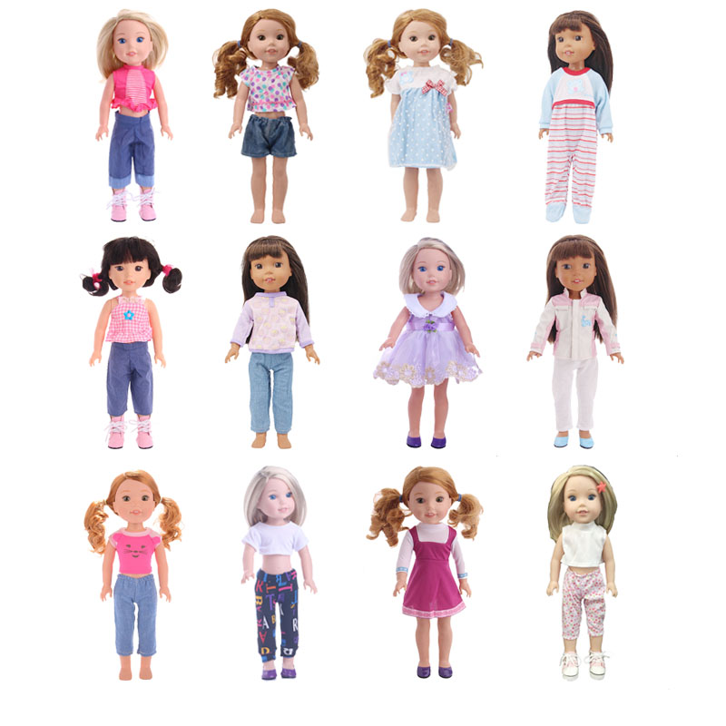 12 Colors Choose 1=14.5 Inch Wellie Wishers Doll Reborn Baby Doll Toy Dress Clothes/ Only Sell Clothes For Generation Girl`s Toy
