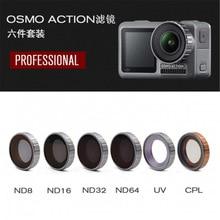 อุปกรณ์เสริม DJI OSMO ACTION อุปกรณ์เสริมกล้องเลนส์ปรับ/กรองชุด OSMO ACTION FILTER MCUV + CPL + ND8 + ND16 + ND32 + ND64