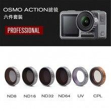 オプション dji osmo アクションアクセサリーカメラレンズ調整可能な/ダイビングフィルターセット osmo アクションフィルター mcuv + cpl + ND8 + ND16 + ND32 + ND64