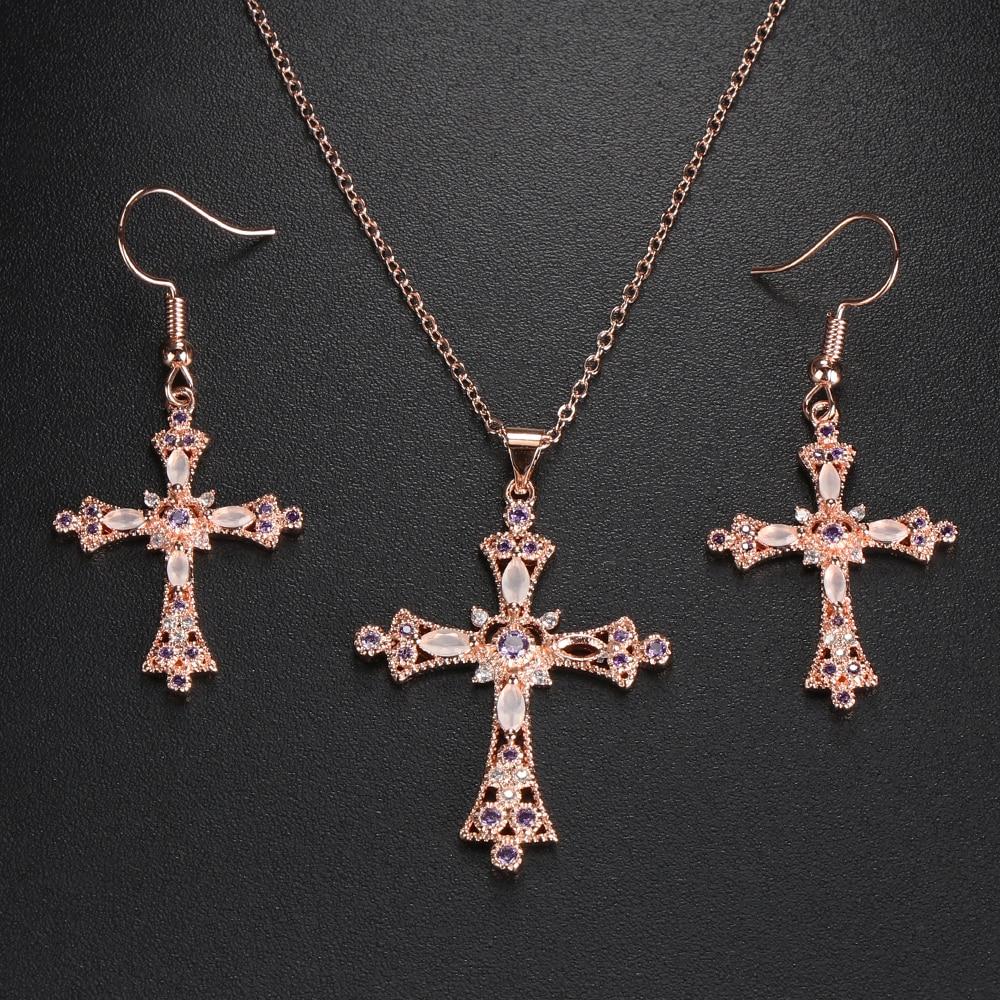 Jewelry Rhinestone God We Trust Ear stud Necklace Dangle Earring Cross Pendant