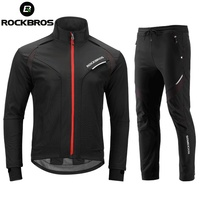 ROCKBROS Winter Thermal Fleece Cycling Sets Windproof Reflective Jacket + Cycling Trousers Bicycle Sportswear Cycling Clothings