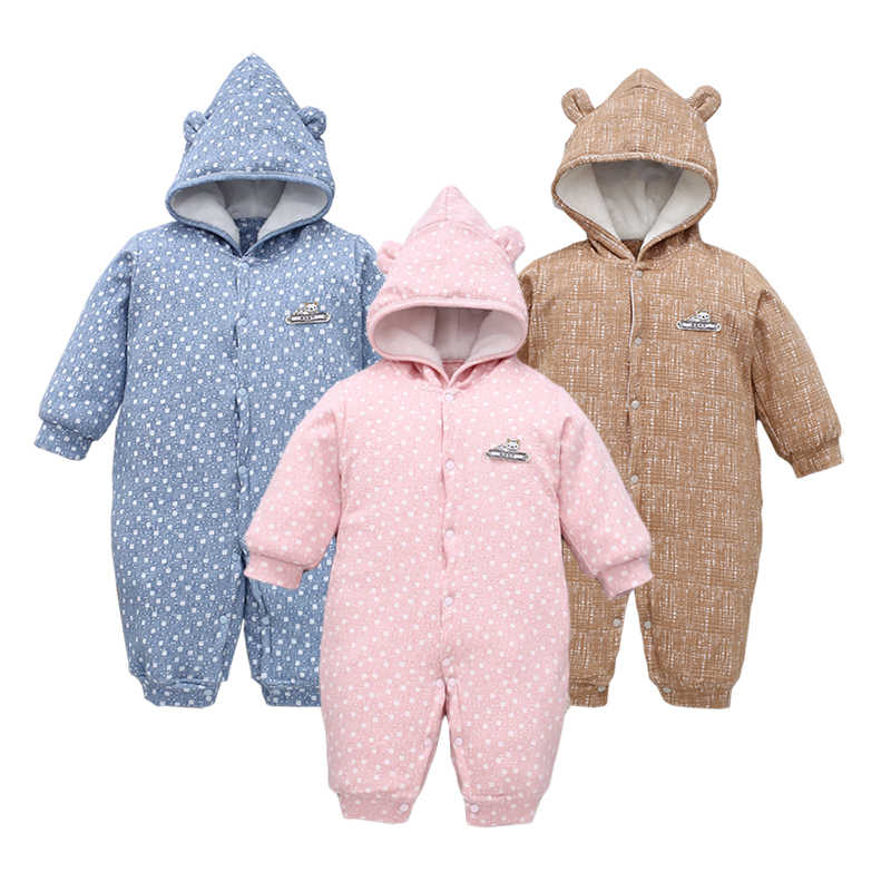 d537b6ca16c Baby Clothes Baby Girl Romper Infant Jumpsuit Bebes Hooded Warm Cartoon Bear  Costume Winter Overalls Newborn