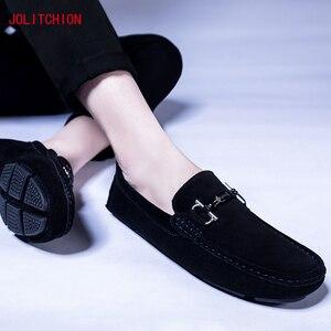 Image 4 - Sıcak satış marka erkek mokasen ayakkabıları gündelik erkek ayakkabısı süet deri Mocassim Masculino nefes tekne ayakkabı üzerinde kayma Chaussures Hommes