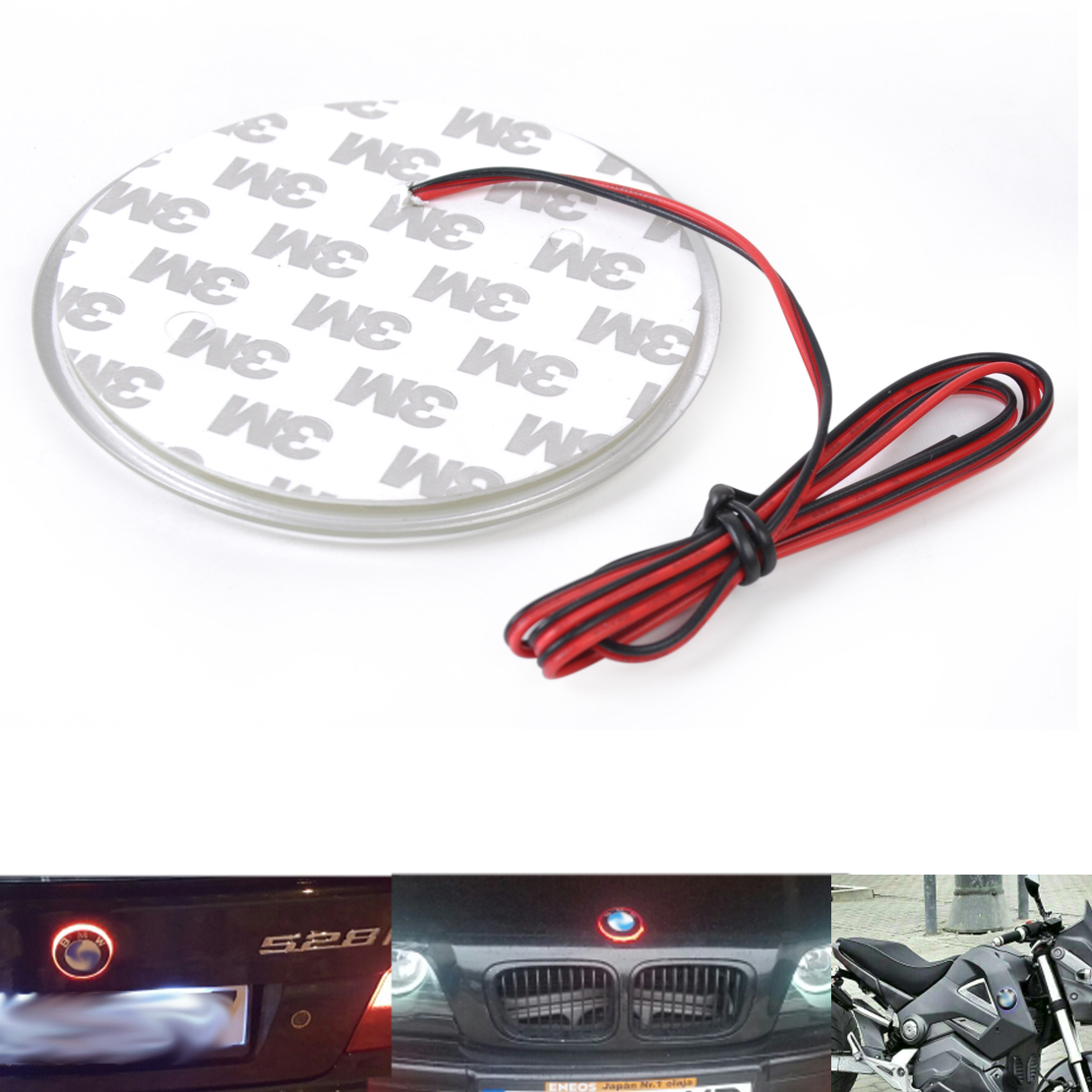 Car Motorcycle Truck Decal Sticker Logo Badge Emblem Light LED Lamp For BMW 3 5 7 Series Red Blue White