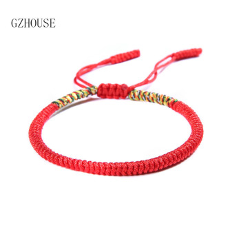 Lucky Handmade Buddhist Knot Rope Bracelet Tibetan Best Gift Women Jewelry Hot Sale 1Pc Fashion Red Thread String Bracelet 2018 buddhist rope bracelet