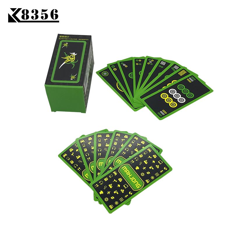 K8356 2017 New Hot Luminous Mahjong Poker Cards Noctilucent Smooth Paper Mahjong Playing Cards Board Games 95mm*45mm image