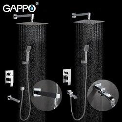 GAPPO Parete bagno doccia rubinetto in ottone set doccia a pioggia miscelatore rubinetto chrome rubinetto vasca da bagno rubinetto cascata Vasca Da Bagno Doccia