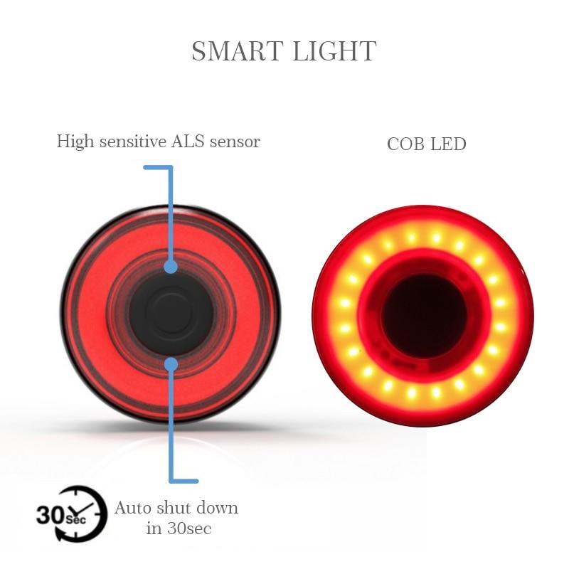 AGEKUSL Intelligent Bike Bicycle Lights Brake Warning Automatic Sensing Cycling MTB Road Bike Tail Rear Light Lamp Accessories 3