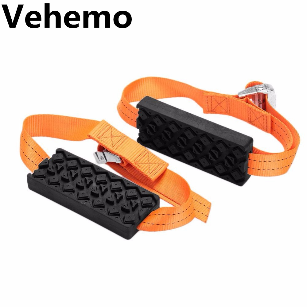 Vehemo 2PCS Car Snow Chains Anti-Skid Universal Rubber Nylon Snow Mud Chain Saloon Car Tire Emergency Anti Skid Strap