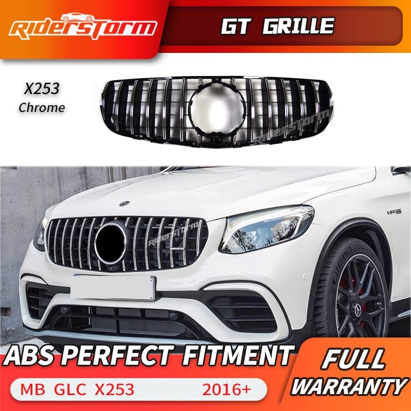 11. 11 promotion For x253 AMG GT Grille front Grill for Mercedes 2016+ GLC class GLC200 GLC250 GLC300 Sport glC450 GLC63 grill chrome rear bumper trunk door sill plate cover for mercedes x205 glc benz glc200 glc250 glc300 2015 2016