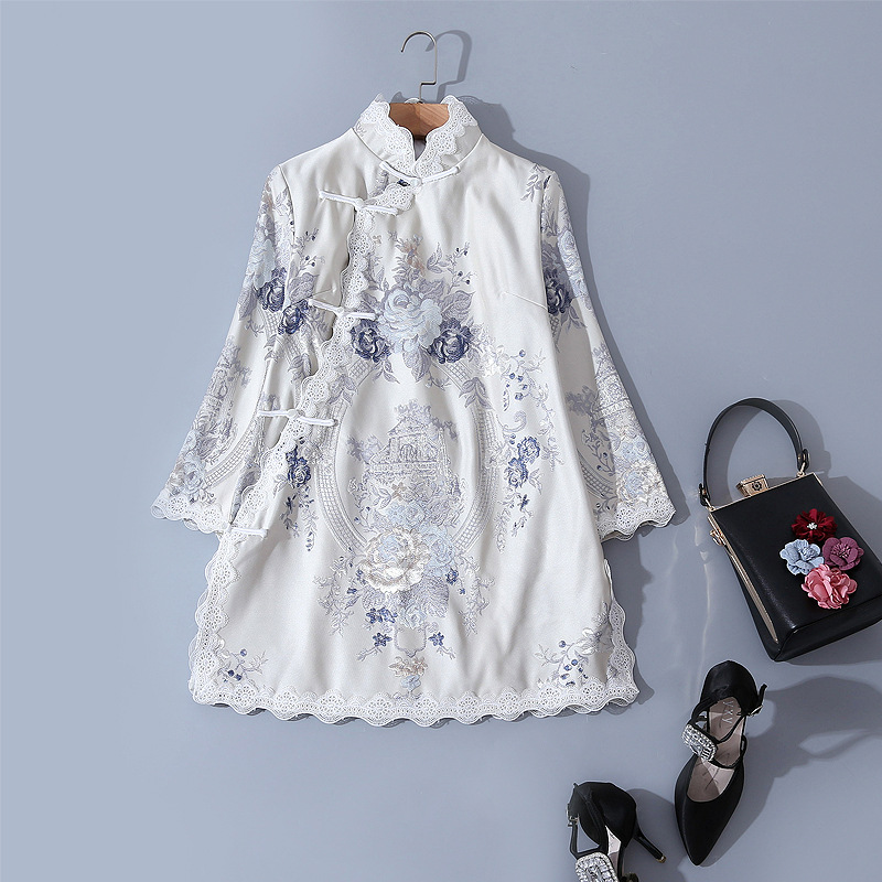 Improved Cheongsam New Chinese Style Retro Slung Button Loose Lace Embroidery Daily Cheongsam Top