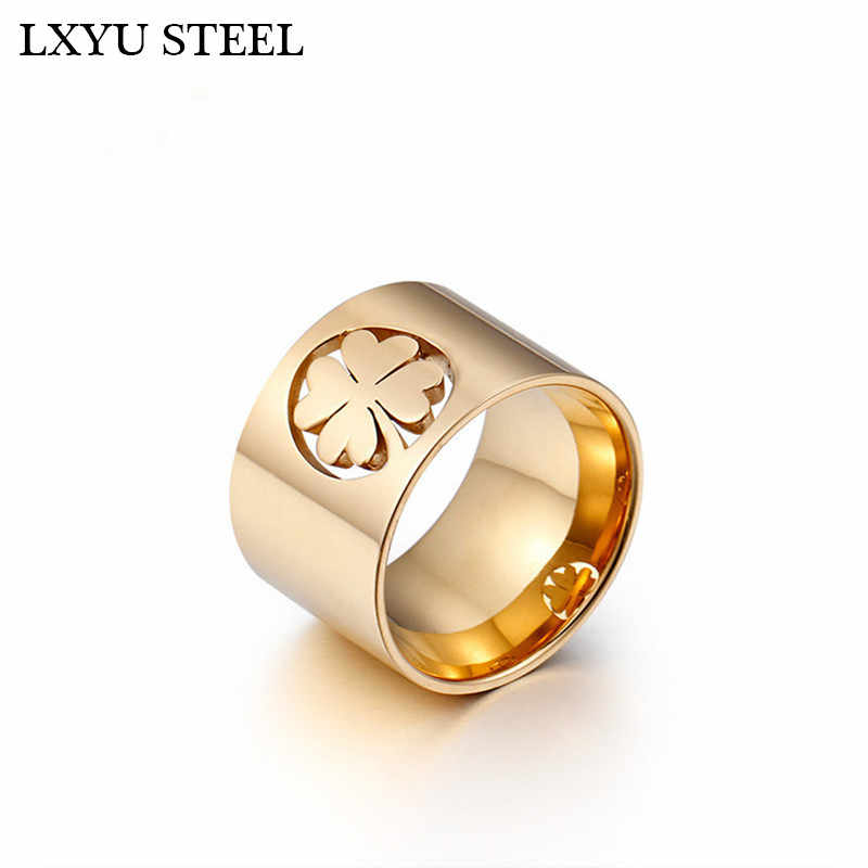 High Polished Stainless Steel Clover Ring For Women Gold/Silver Color Finger Rings Size 6 7 8 9 Fashion Jewelry Wholesale Rings