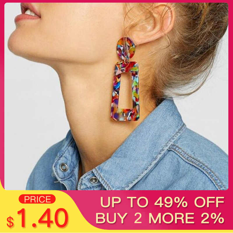 SHUANGR ZA Acrylic Resin Dangle Earrings For Women Geometric Colorful Statement Drop Earings Big Vintage Earring Jewelry Gift