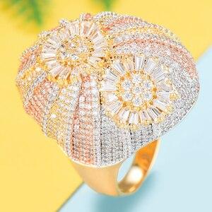 Image 5 - GODKI odważne stosy pierścień luksusowe kwiat koło CZ Cubic cyrkon pierścień CZ dla kobiet Bridal zaręczyny ślub dubaj pierścienie