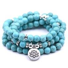 Promotion Natural Stone Bracelet 108 Mala Yoga Necklace Matte Amazonite Prayer Bead Boho Style Jewelry