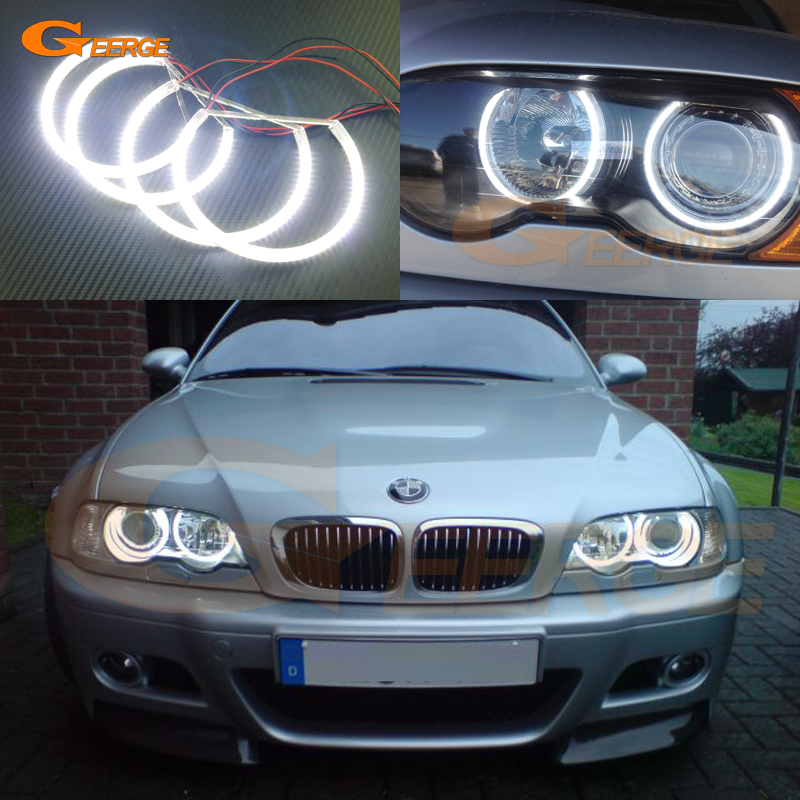 For BMW E46 M3 with factory equipped HID headlight 2001-2006 Excellent smd led angel eyes Ultra bright SMD led Angel Eyes kit led headlight lights angel eyes