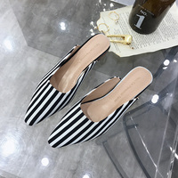c8aa5c4b1a Spring Women Slippers Stripe Female Mules Fashion Low Heels Shoe Pointed  Toe Elegant Woman Striped Slipper