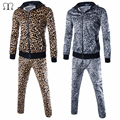 tracksuit men luxury brand mens tracksuit set sweatshirt men sudadera hombre Leopard printed outwear jogger set fashion 2016