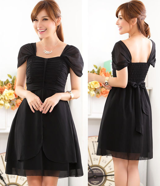 fe4251f7446 high quality 2015 summer women chiffon short sleeve fashion cute short  design party ball little black dress plus size Vestido