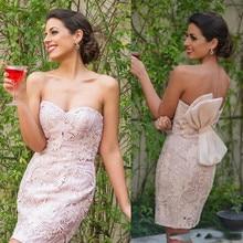 High End Licht Plink Spitze Shaeth Engagement Kleid Mit Großen Bogen Schatz Mini Formale Kleider 2016 Kurze Cocktailkleider