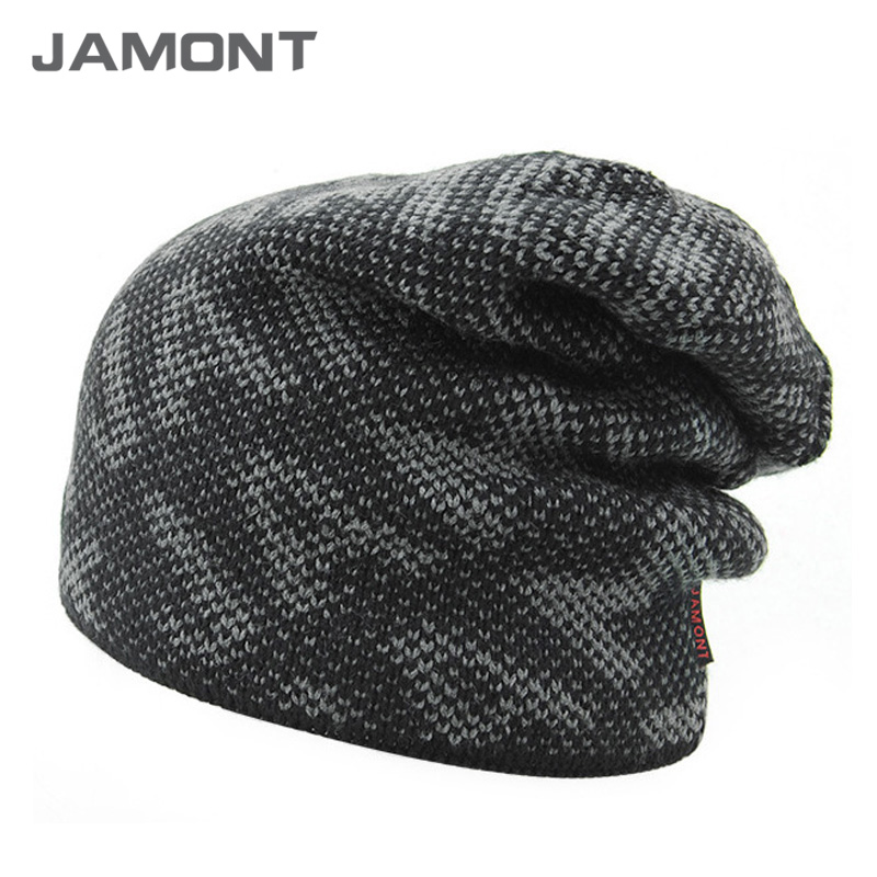 [JAMONT] 2017 New Fashion Winter Beanie Hat Knit Winter Hat For Men Warm Bonnet Hats with Velvet inside Z-3899