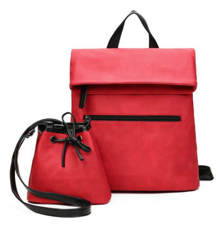 1 Set 2 Pcs Women Backpack PU Leather Back Pack Women School Bags For Women Backpack Mochila Bolsa Feminina