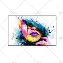Fashion Modern Canvas hand-painted oil Painting Sexy Women Face Wall Picture Abstract Figures Oil for Living Room Decor