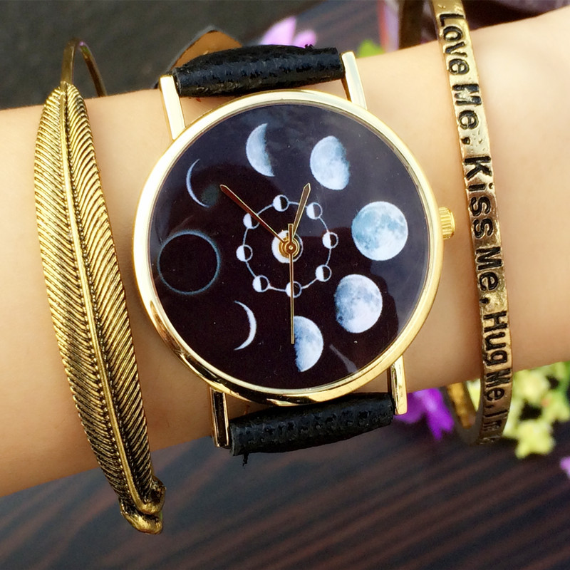 FUNIQUE 2019 Solar Moon Phase Eclipse Stylish Quartz Watch