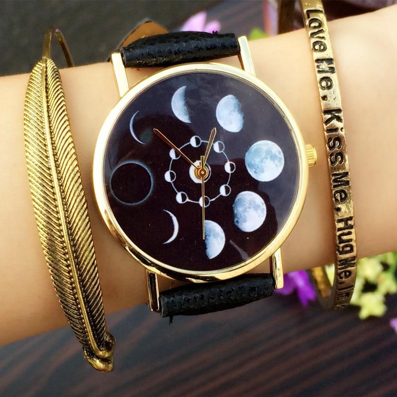 Solar Moon Phase Lunar Eclipse Watch Women Stylish Quartz Watch PU ...