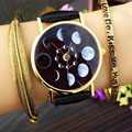 Solar Moon Phase Lunar Eclipse Watch Women Stylish Quartz Watch PU Leather Bracelet Watches For Women Clock hour