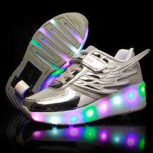 Image 2 - Zapatillas de patinaje con ruedas para niños y niñas, zapatos de moda para chicas y niños, con luces LED, color rosa, dorado y plateado
