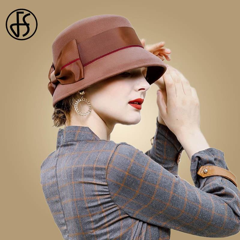 92f9ff72d94d3 FS 2018 Vintage Wool Felt Women Fedora Hat Black Brown Red Bow Floral Wide  Brim Fedoras