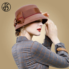 FS Vintage Wool Felt Women Fedora Black Brown Red Bow Floral Wide Brim Fedoras Bowler Elegant Winter Cloche Church Ladies Hats