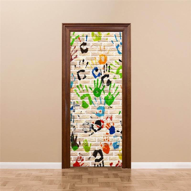 Modern Simple Abstract Color Fingerprint Graffiti Art Wall Mural Wallpaper Fashion Living Room Bedroom 3D Creative Door Sticker art abstract pattern color carving large mural 3d wallpaper 3d wallpaper bedroom living room tv backdrop painting 3d wallpaper