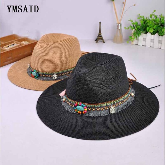 47d6831b6af8d New Spring Summer Bohemia Style Women s Jazz Caps hats with Wide Birm Women  Straw Vintage Hat Floppy Sun Beach Church Cap Gorros