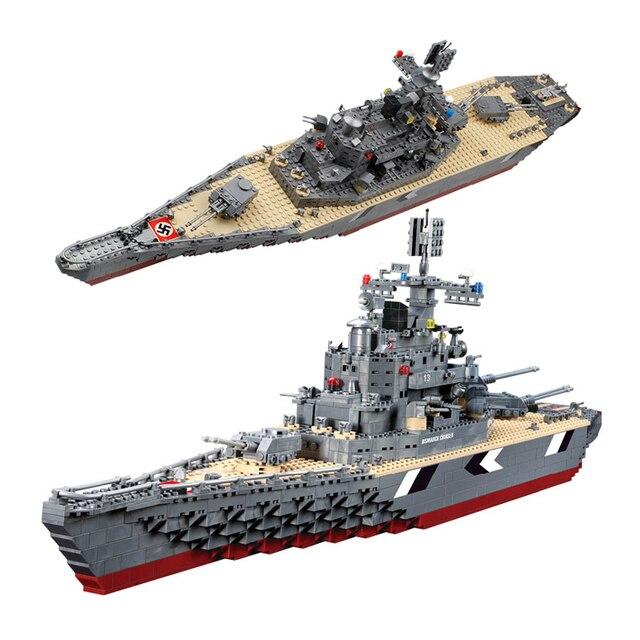 Kits de edificio modelo compatible con lego city Bismarck acorazado Militar bloques 3D modelo Educativo y juguetes de construcción aficiones