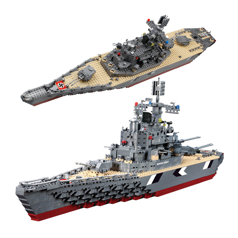 Model building kits compatible with lego city Military Bismarck battleship 3D blocks Educational model & building toys hobbies ba904 academy wwii german artwox battleship bismarck wood deck aw10047