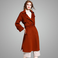 YQM 2017 new brand runway women winter wool coats top quality fashion solid double sided 100% wool long wool coats with sashes