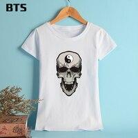 BTS Skull Summer T Shirt Women Brand Tees Tops Short Sleeve Chinese Style Funny Tshirt Designs