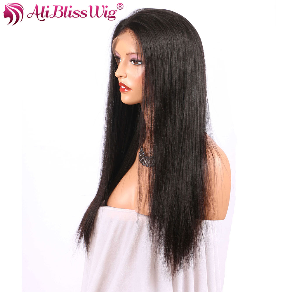 150 Light Yaki Lace Front Human Hair Wigs Yaki Straight 360 Lace Fronal Wig Natural Color