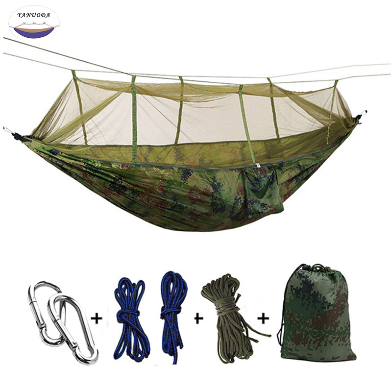 Ulm Parachute Balançoire Hamac Chasse Moustique Net Hamac Voyage Double Personne Hamak pour Camping En Plein Air Meubles Hamac