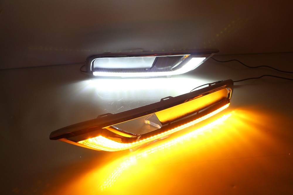 eOsuns LED daytime running light DRL for honda crv 2015 2016, wireless switch, yellow turn signal, dim control eosuns led drl daytime running light fog lamp for volkswagen vw jetta sagitar 2012 wireless switch control dim control