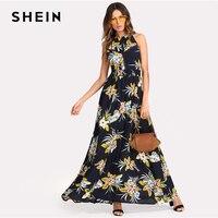 SHEIN Laser Cut Insert Open Back Floral Print Maxi Dress Women Halter Sleeveless Backless Shift Dress