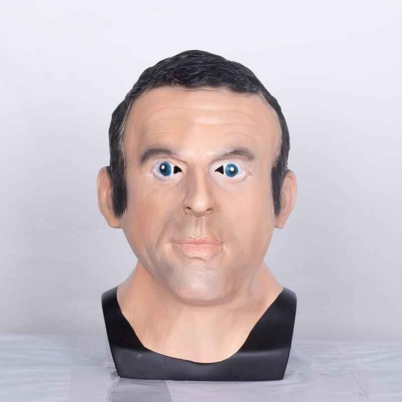 Presiden Perancis Emmanuel Macron Lateks Topeng Penuh Wajah Halloween Realistis Selebriti Halloween Dewasa Cosplay Kostum Mewah Alat Peraga