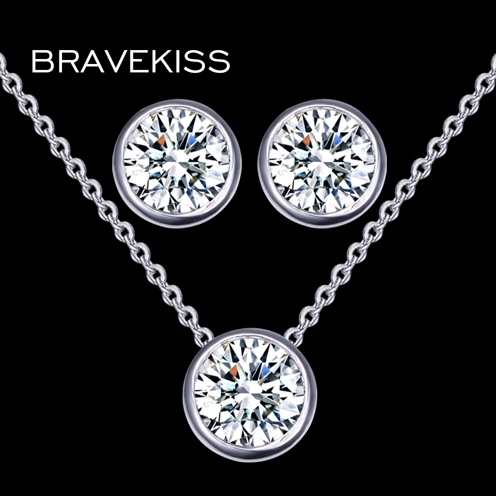 BRAVEKISS Austrian Crystal Jewelry Set for Women Small CZ Zircon Earrings Necklace Chain Jewelry Set Round Charms bijoux BUS0026