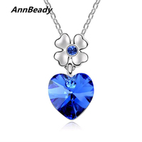 Heart Shape Lucky Leaf Statement Austria Crystal Pendant Necklace Fashion Design Jewelry Gift For Women