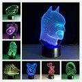 Toque 3D Lámpara de Luz Nocturna en 3D USB de Escritorio de Tabla del Led Lampara 7 Colores Que Cambian La Lámpara LED Luminaria Figura de Acción de Juguete Regalo de Los Cabritos