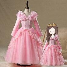 Kids Fancy Princess Aurora Belle Cinderella Sofia Rapunzel Dresses Girls Ball Gown Elsa Party Cute Dress Halloween Costumes Gift