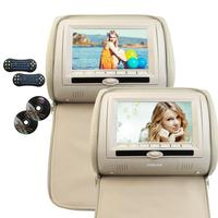 Two Car Pillow Headrest DVD Player Black Gray Beige Universal Digital Screen Zipper Car Monitor USB