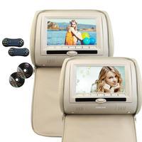 Two Car Pillow Headrest DVD Player Black Gray Beige Universal Digital Screen Zipper Car Monitor USB